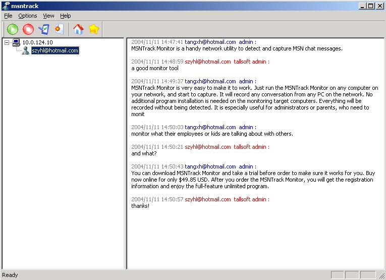 A MSN spy utility to capture MSN chat message